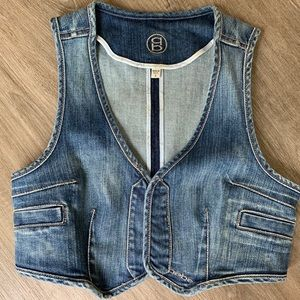 Cropped Denim Jean Vest - Bebe